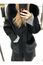 Load image into Gallery viewer, Louise Long Cashmere Blend Coat Black w/ Fox Fur Pockets