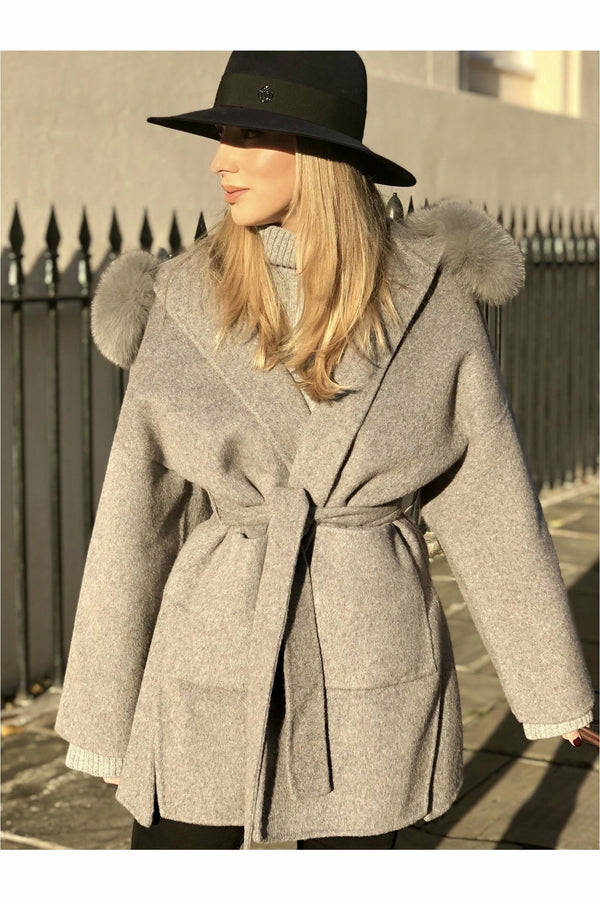 Louise Cashmere Coat Grey