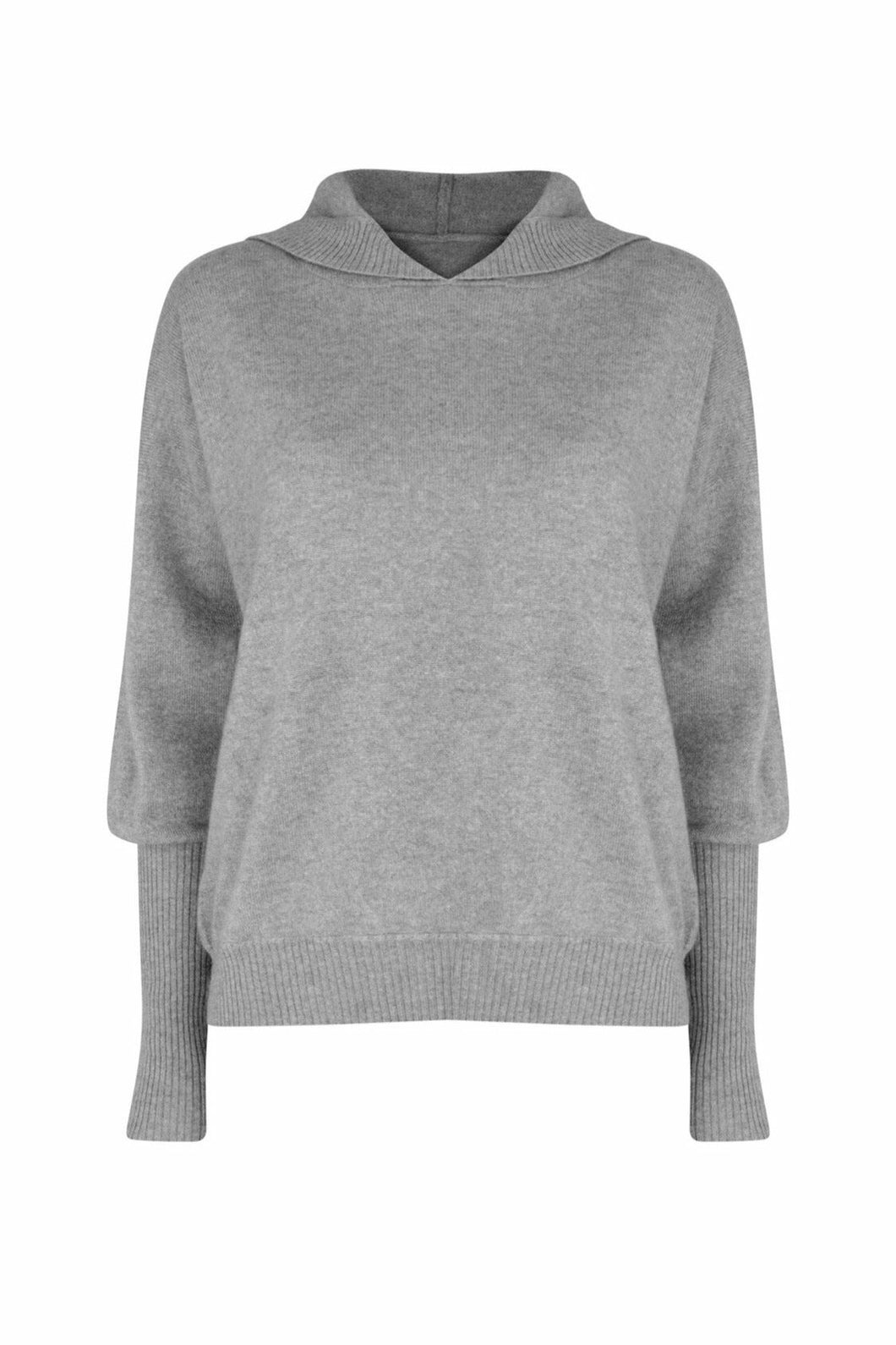 100% Cashmere Hoodie in London Grey