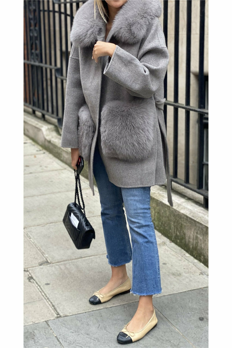 Louise Cashmere Coat Fur Pockets Grey