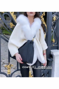 Lucy Cashmere Blend Cape Coat Ivory White