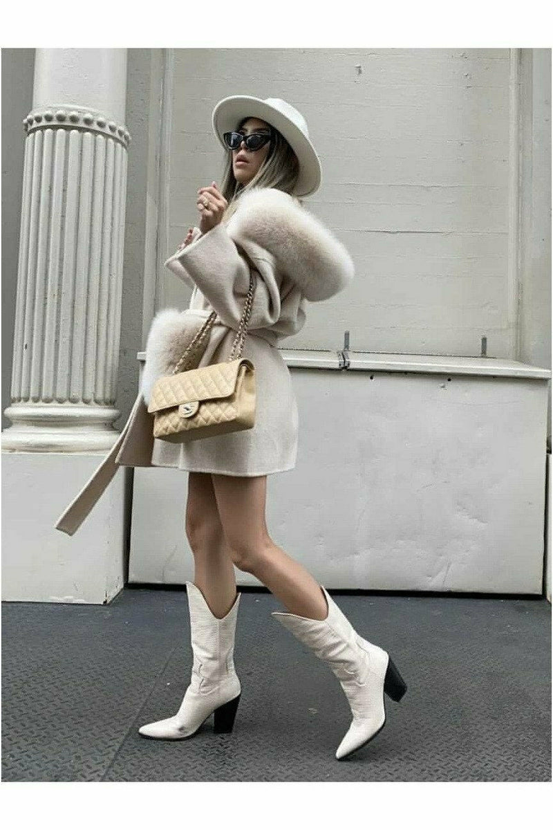 Louise Cashmere Coat Cream White Fur Pockets
