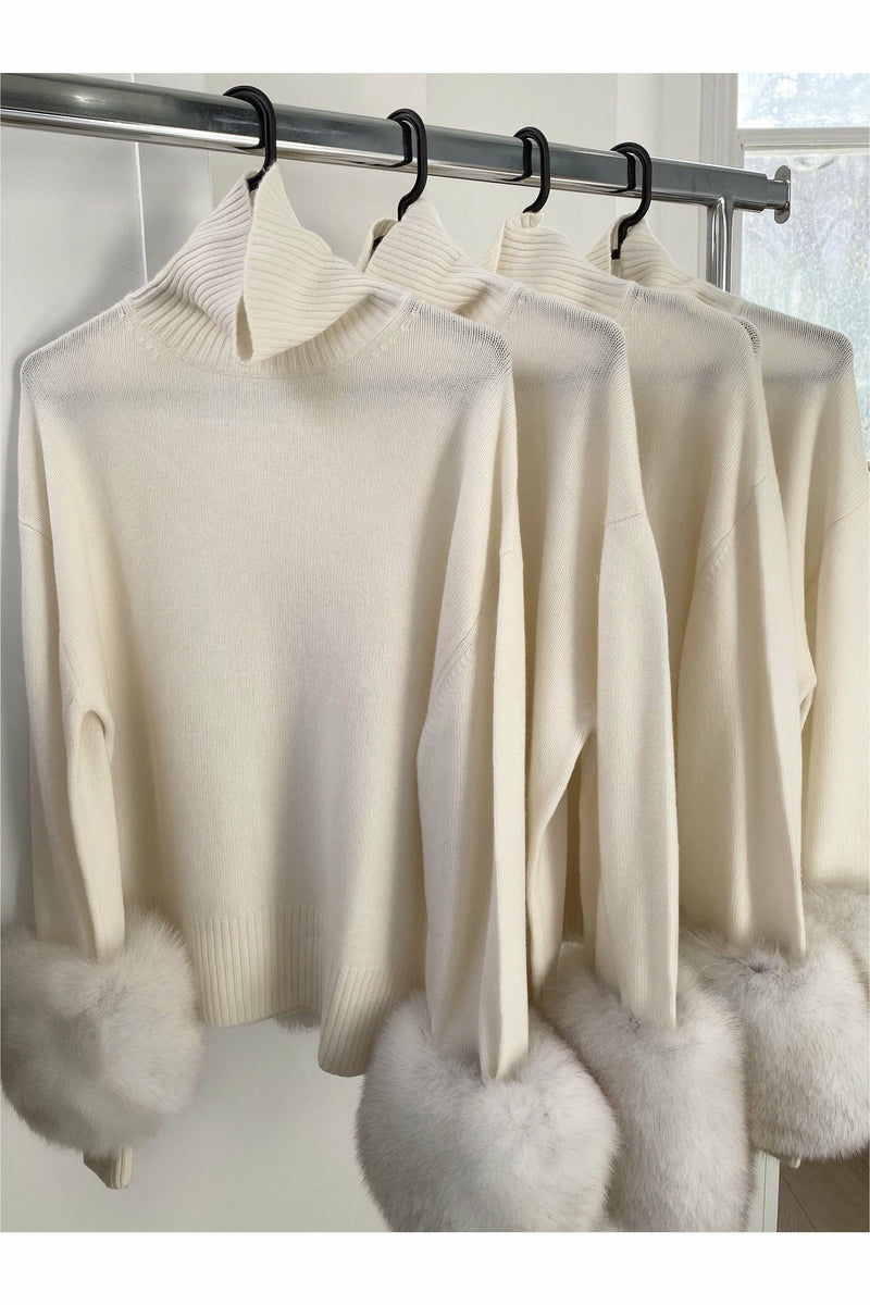 The Boyfriend Turtleneck Fur Cuffs Colette White