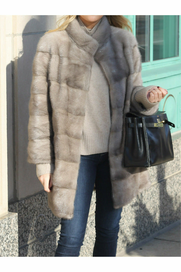 Jona Mink Coat Grey