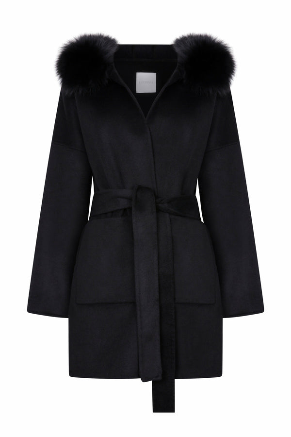 Louise Cashmere Coat Black