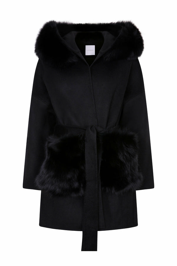 Louise Cashmere Coat Fur Pockets Black