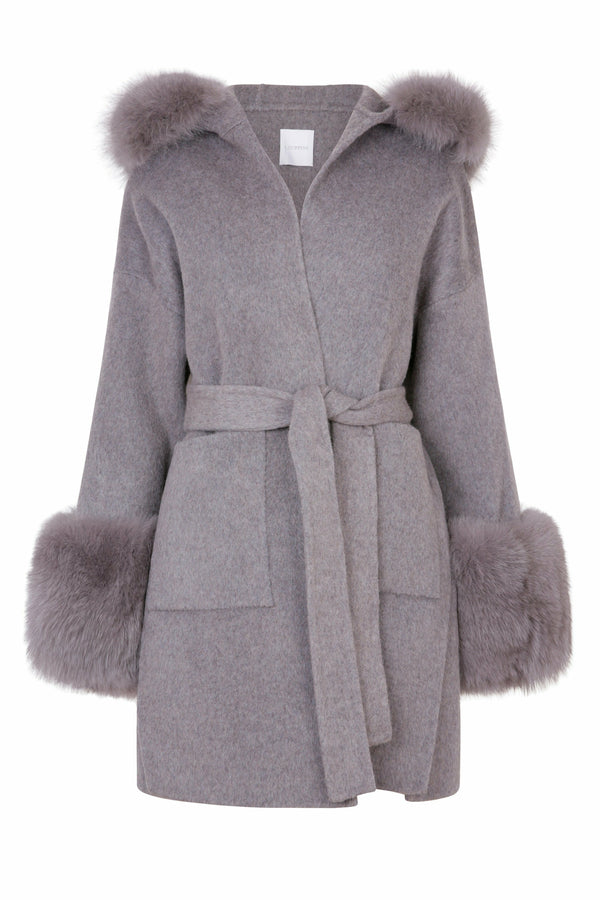 Louise Cashmere Coat With Fur Cuffs Grey