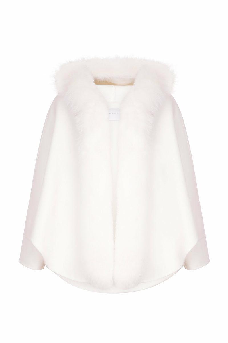 Lucy Cape Cashmere Coat Ivory White