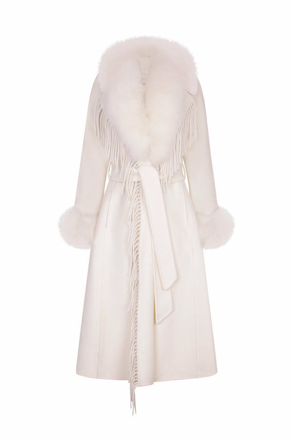 Roma Cashmere Fringe & Fox Fur Coat Ivory White