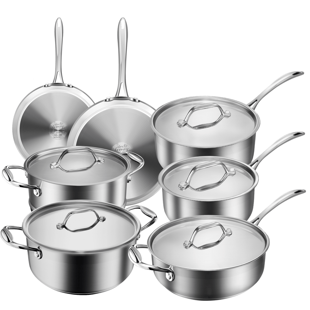 Dealz Frenzy Multiclad Pro Cookware Set,Classic Pots and Pans Set,Stainless Steel Induction,Rustproof & Oven-Safe Cooking Pots,PFOA Free, FDA,Dishwasher Safe,Impact-bonded Technology 12 Piece Silver