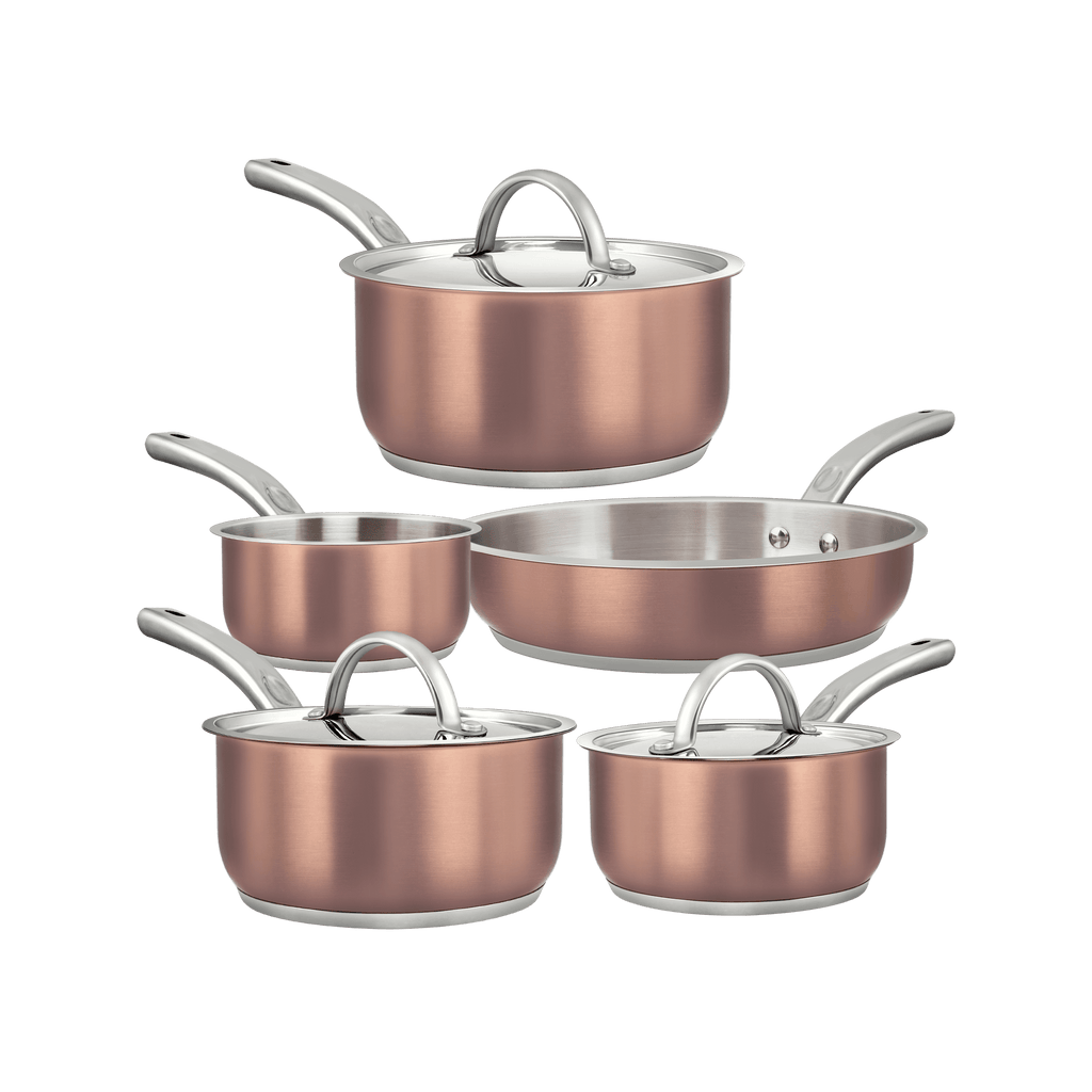 Dealz Frenzy 8-piece stainless steel cookware sets, Tri-Ply bonded metal, mirror polished copper exterior and durable stainless-steel interior for rapid, uniform heating, stainless steel handles remain cooler for longer, including saucepans, fry pan