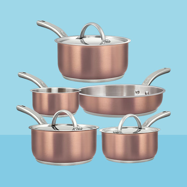 8-piece Stainless Steel Infused Copper     Cookware Set