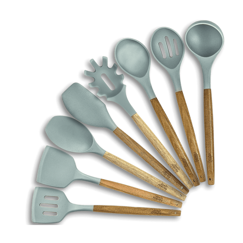 Kitchen Utensil Set - 8 Piece Natural Acacia Wooden Silicone Cooking Utensils Set for Nonstick Cookware, Kitchen Tools Gadgets for Gifts, Spoons Turners Spatulas Ladle Pasta Sever