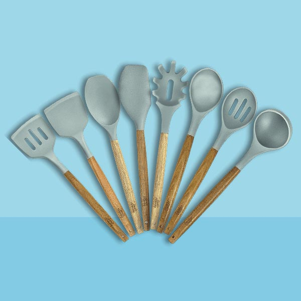 8-piece Wooden Silicone Cooking Utensils Set for Nonstick Cookware