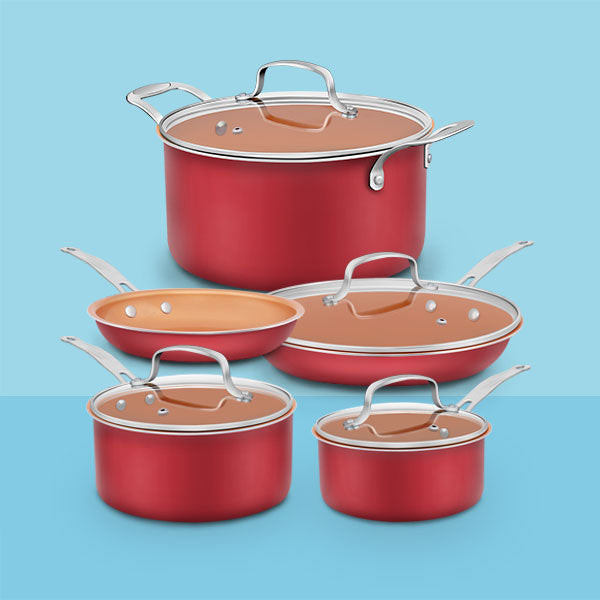 9-piece Ceramic Nonstick Stainless Steel Cookware Set