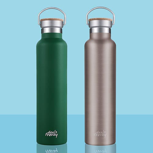 Holds 26 oz Double Wall Vacuum Stainless Steel Water Bottle,Bamboo Cap,BPA Free