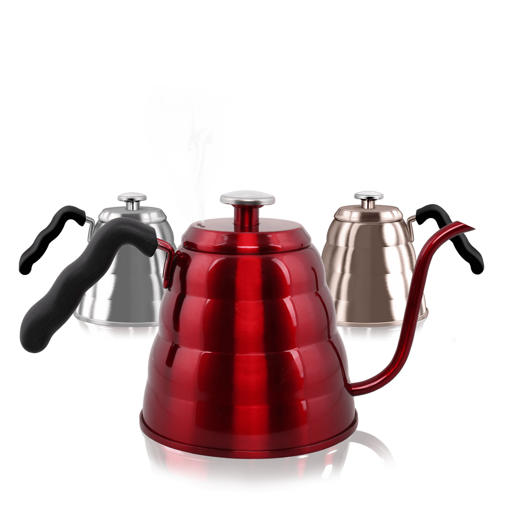 Dealz Frenzy Gooseneck Kettle - Pour Over Coffee Kettle with Exact Thermometer, Stovetop Tea Pot - Triple Layer 18/8 Stainless Steel Drip Kettle, Induction Stove and Fire Safe, FDA