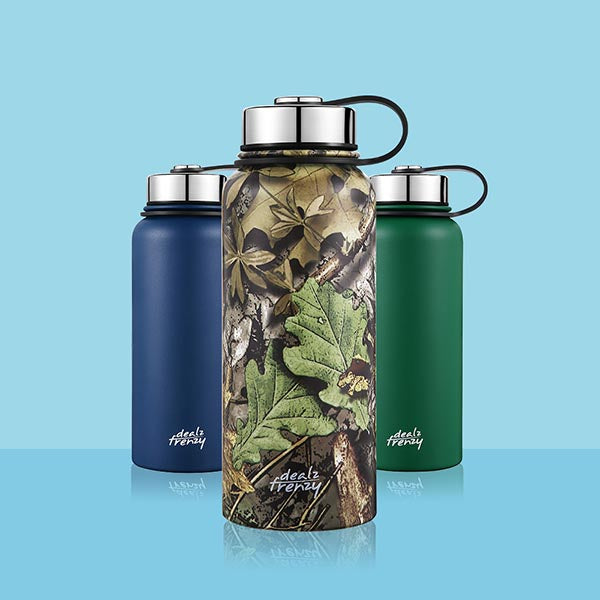 Holds 32 oz Stainless Steel Sports Water Bottle,Double Wall Vacuum Wide Mouth Flask
