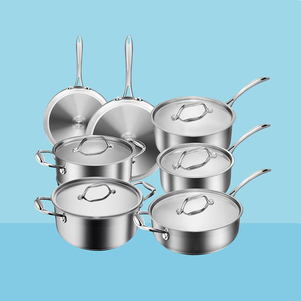 12-piece Multiclad Pro Stainless Steel Cookware Set Induction Oven-Safe Cooking Pots