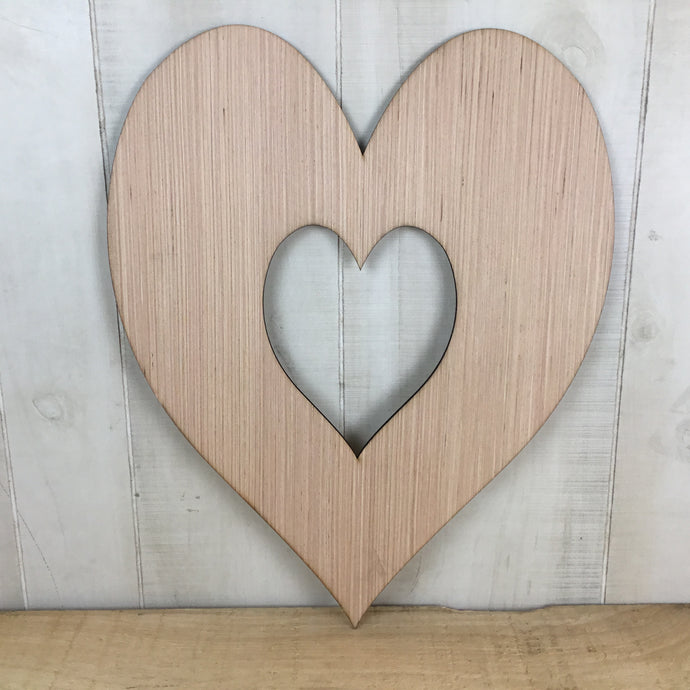 Heart Inside Heart Door Hanger Blank - Local Pickup