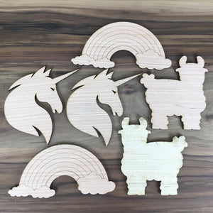 Unicorn, Llama, Rainbow 6 Piece Craft Kit - Free Shipping