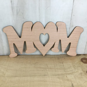 Mom With Heart Door Hanger Blank - Local Pickup