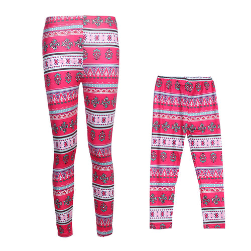Mother Daughter Red Floral Print Leggings