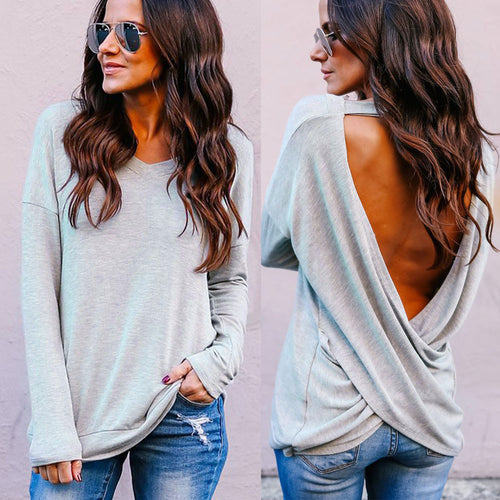 Sexy Fashion Womens Casual Crop Solid V-Neck Backless T-Shirt Blouse Solid Tops