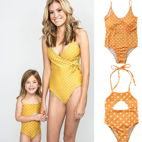 Mother Daughter Yellow Polka Dot Swimwear