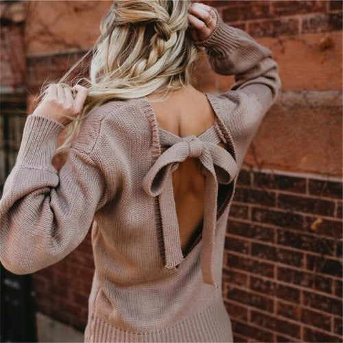 Backless Knot O-neck Sweater