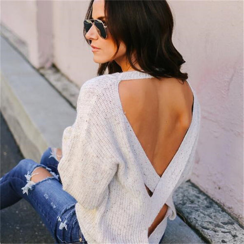 Backless Soft O-neck Sweater