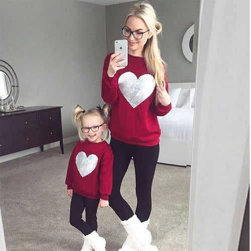Mother and Daughter Love Heart Sweatshirt