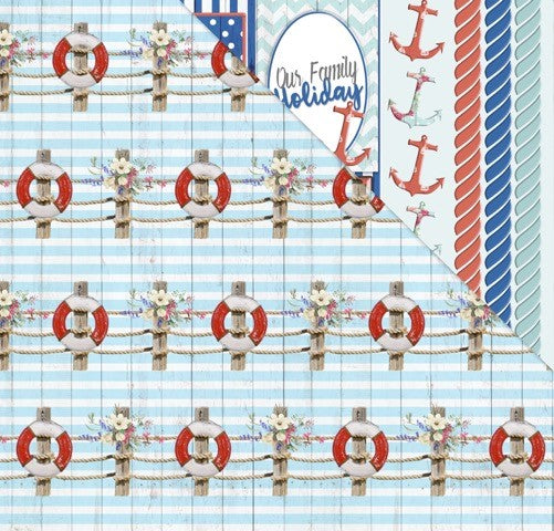 All Aboard (12'x12') Double-Sided Patterned Paper- Anchored By You