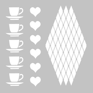 PVC Stencil- Cups Of Love