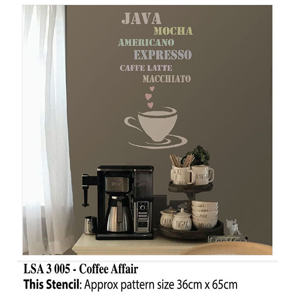 Coffee Affair Wall Stencil