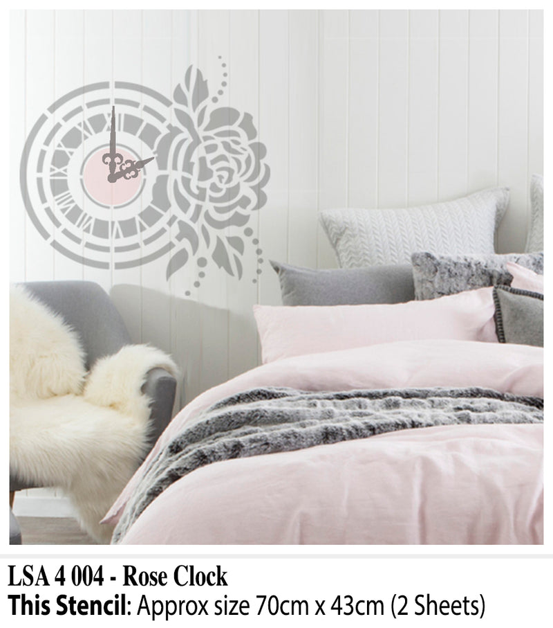 Rose Clock Wall Stencil