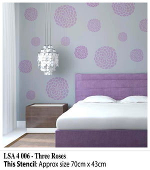 Three Roses Wall Stencil