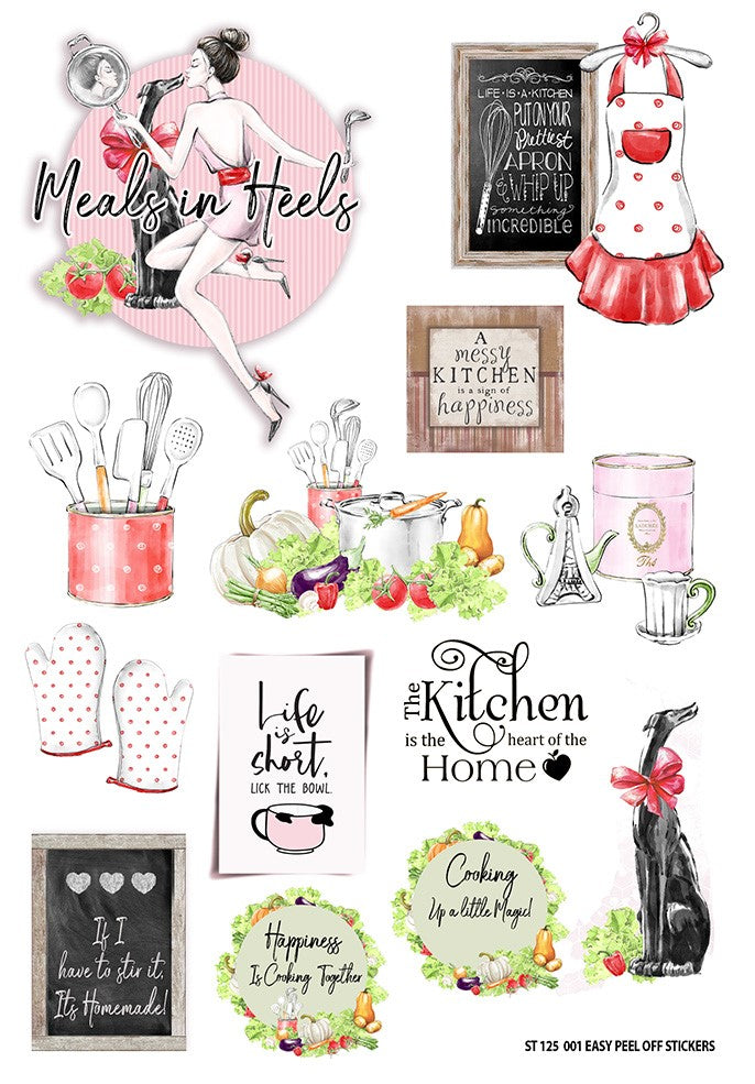 Meals In Heels Large Sticker Sheet