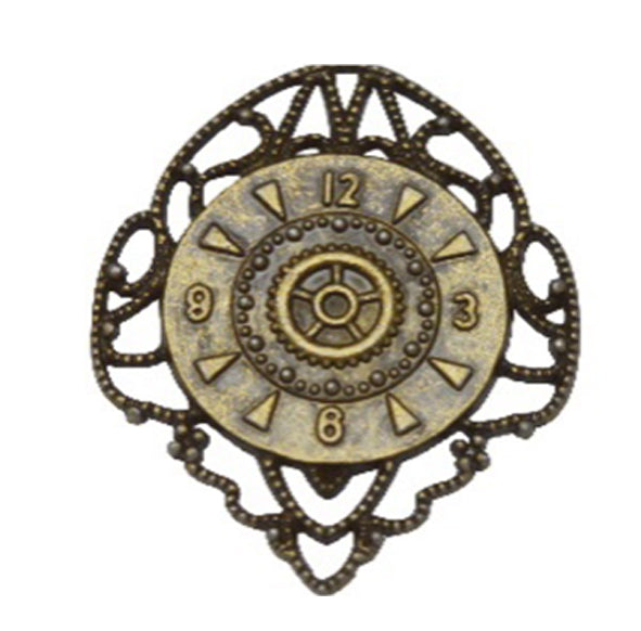 Brass Charms- Filligree Clock