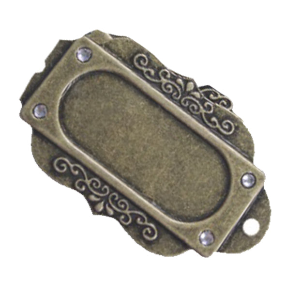 Brass Charms- Filligree Name Plate
