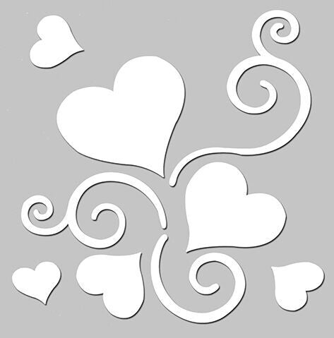Love Story Clear Stencil - Heart Swirl