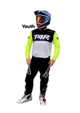 Thirty4 Racing (T4R) Factory Pilot YOUTH Kit Set - Black Out/Flo- 2x YOUTH Jerseys & 1x YOUTH Pant