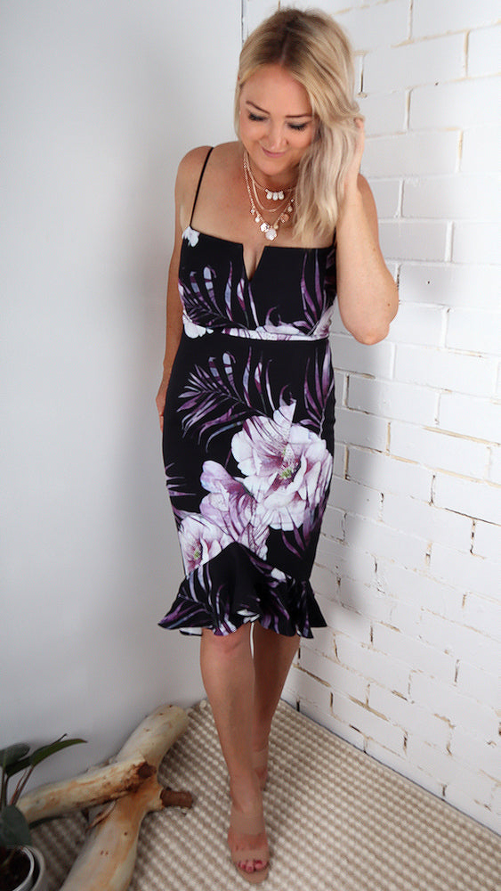 Plum Nights Ruffle Dress