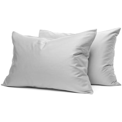 Light Grey Organic Pillowcases - Square Flower