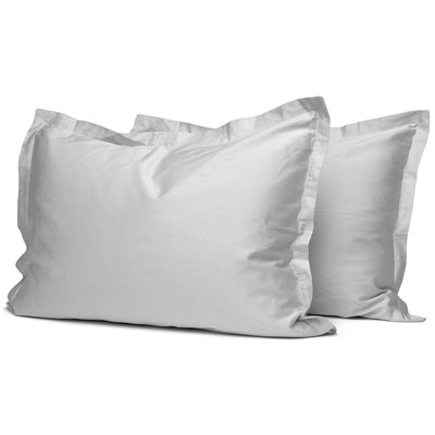 Light Grey Organic Oxford Pillowcases - Square Flower