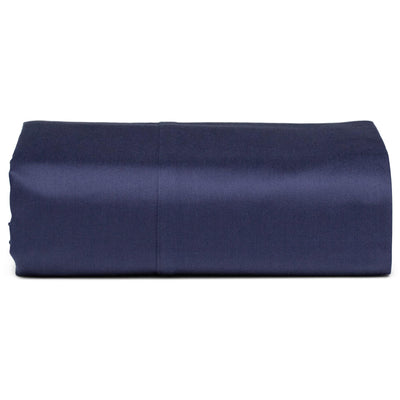 Navy Organic Fitted Sheet - Square Flower