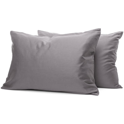 Taupe Grey Organic Pillowcases - Square Flower