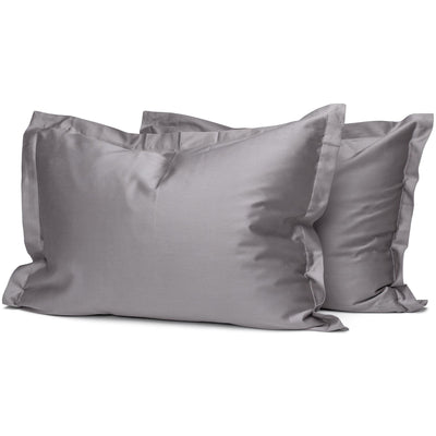 Taupe Grey Organic Oxford Pillowcases - Square Flower
