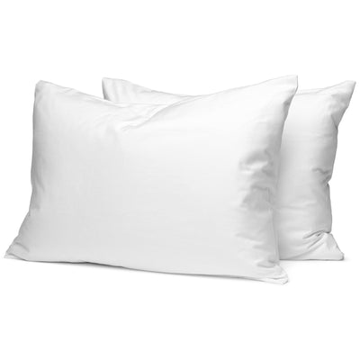 White Organic Pillowcases - Square Flower