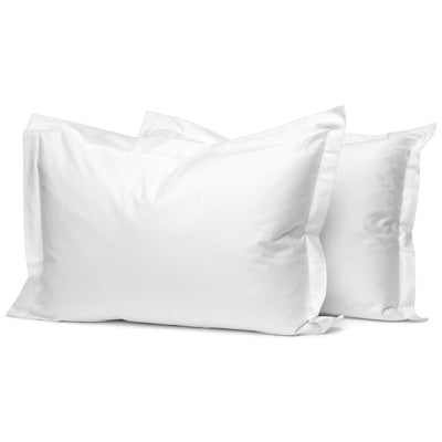 White Organic Oxford Pillowcases - Square Flower